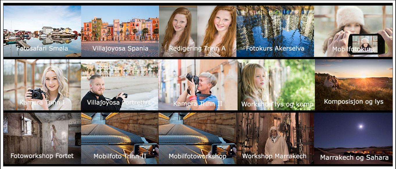 Julegave kurs oversikt fotokurs opplevelse